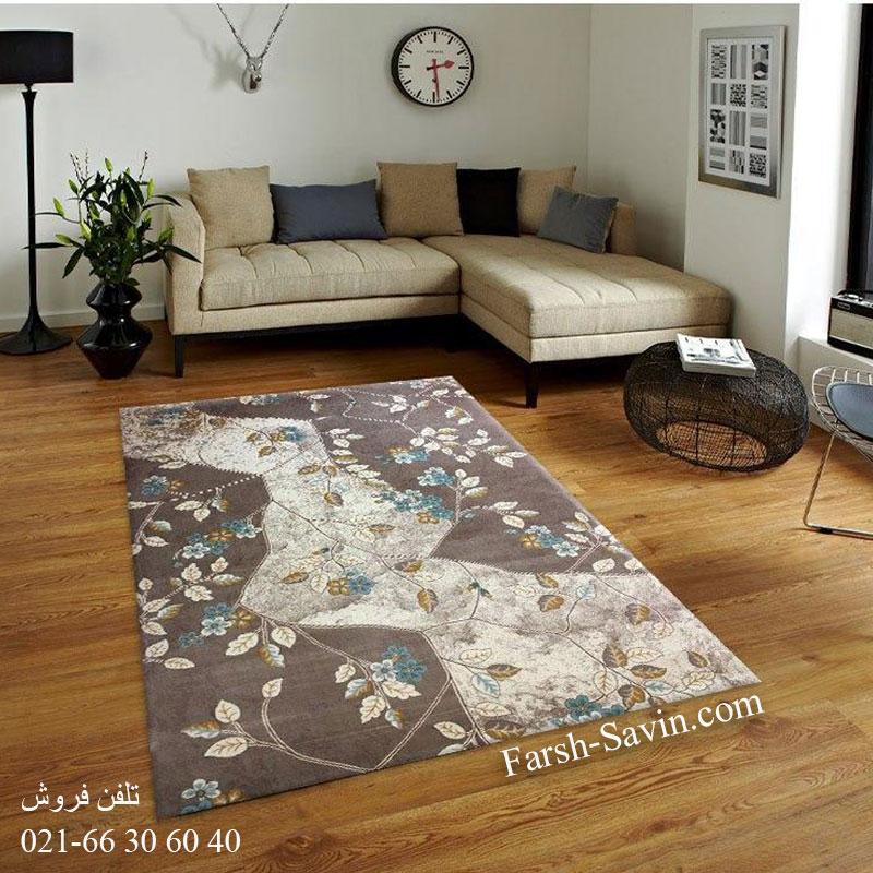 فرش ساوین 1512 آبی فرش اتاق پذیرایی