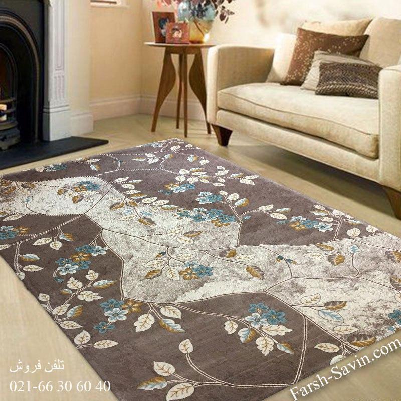 فرش ساوین 1512 آبی فرش فانتزی
