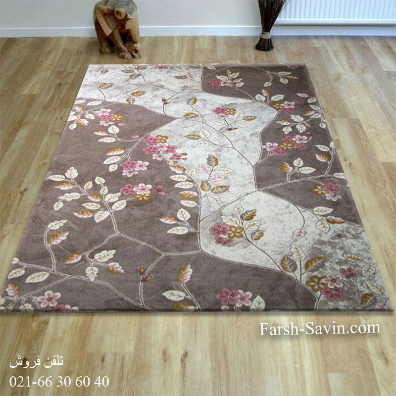 فرش ساوین 1512 صورتی فرش زیبا