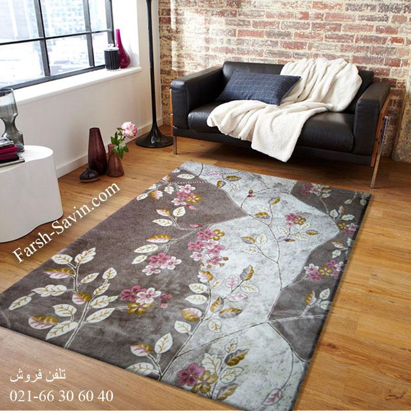 فرش ساوین 1512 صورتی فرش مدرن