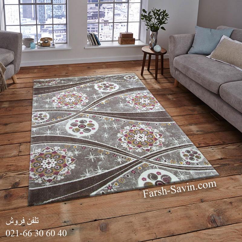 فرش ساوین 1513 صورتی فرش با کیفیت