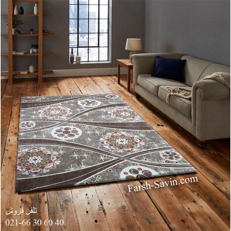 فرش ساوین 1513 صورتی فرش لاکچری