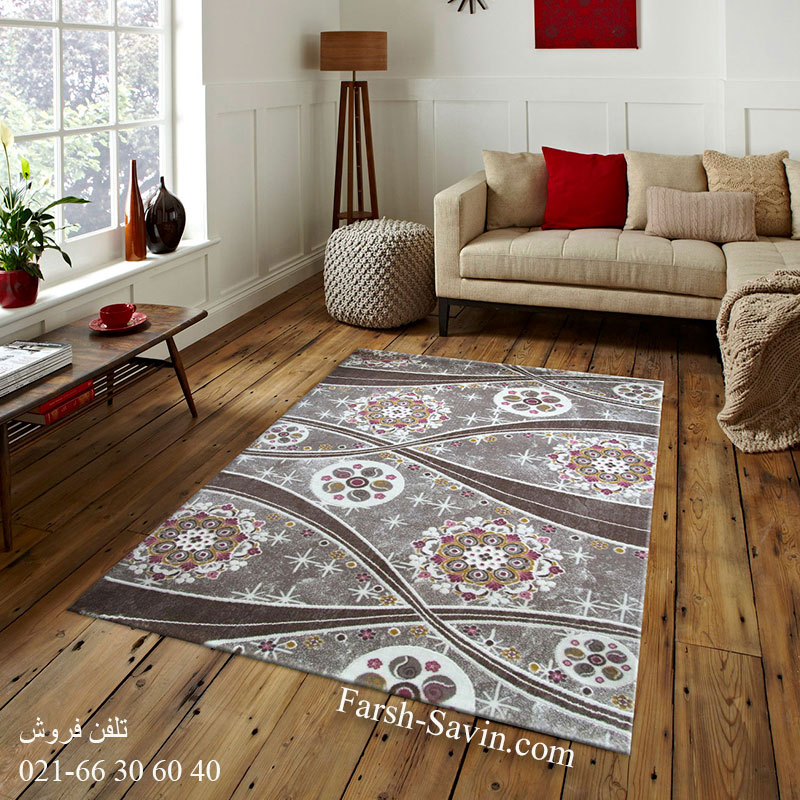 فرش ساوین 1513 صورتی فرش خاص