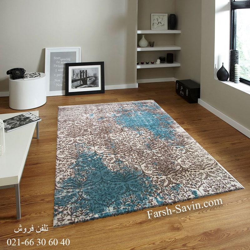 فرش ساوین 1514 آبی فرش لاکچری