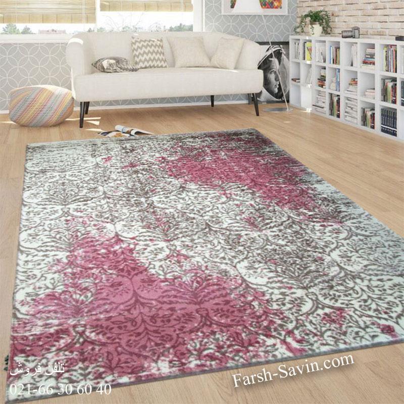 فرش ساوین 1514 صورتی فرش ارزان