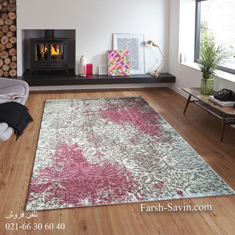 فرش ساوین 1514 صورتی فرش خاص