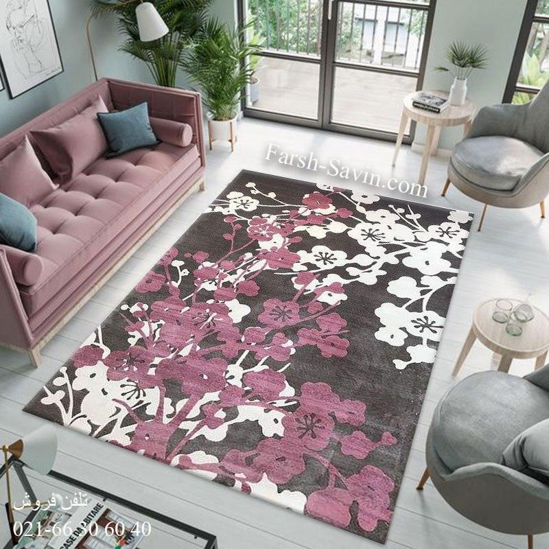 فرش ساوین 1520 صورتی فرش زیبا