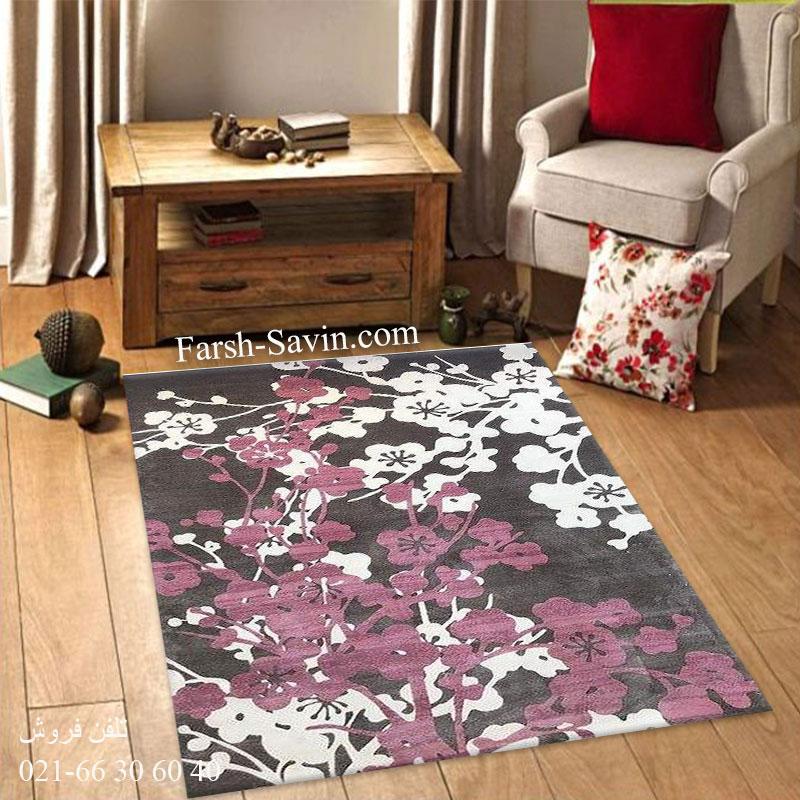 فرش ساوین 1520 صورتی فرش اتاق خواب