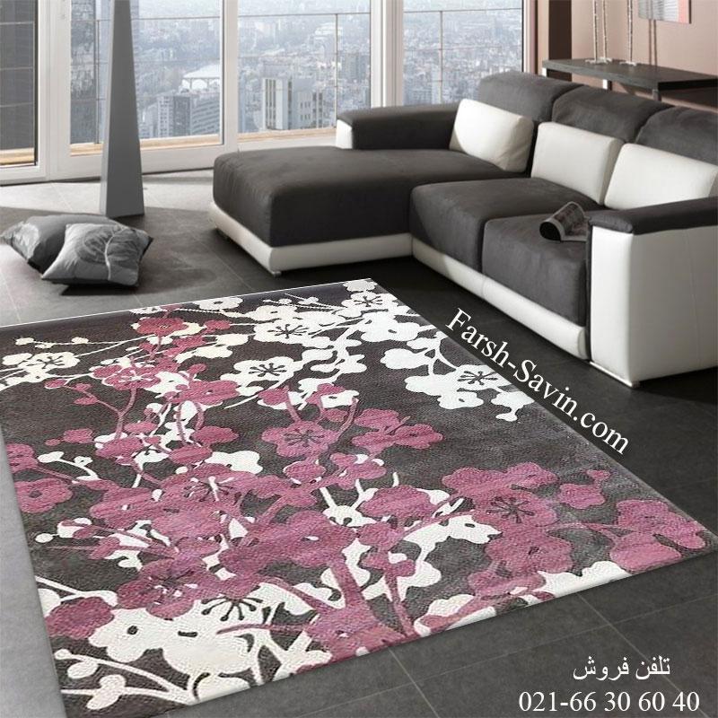 فرش ساوین 1520 صورتی فرش ارزان