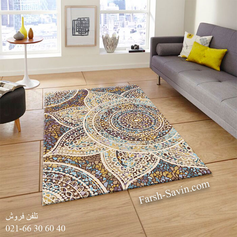 فرش ساوین 7261 قهوه ای فرش زیبا