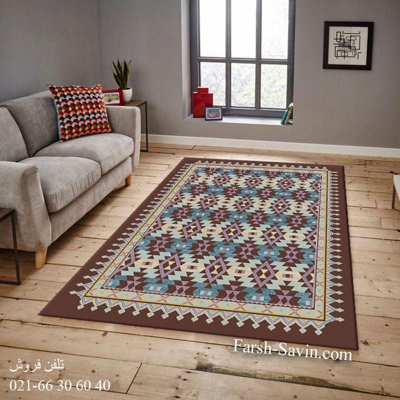 فرش ساوین 7263 قهوه ای فرش اتاق پذیرایی
