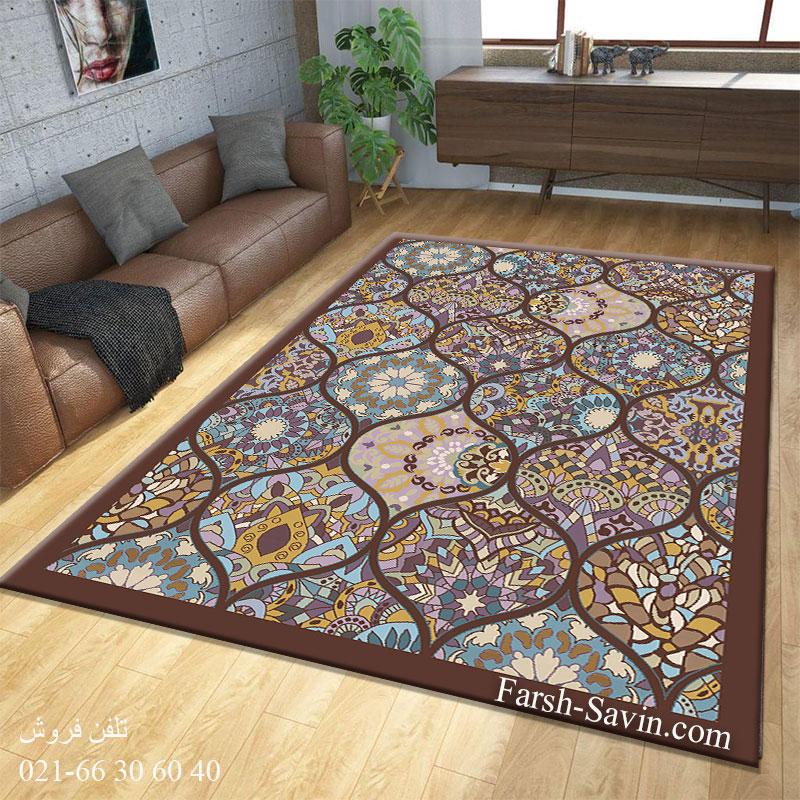 فرش ساوین 7264 قهوه ای فرش اتاق خواب