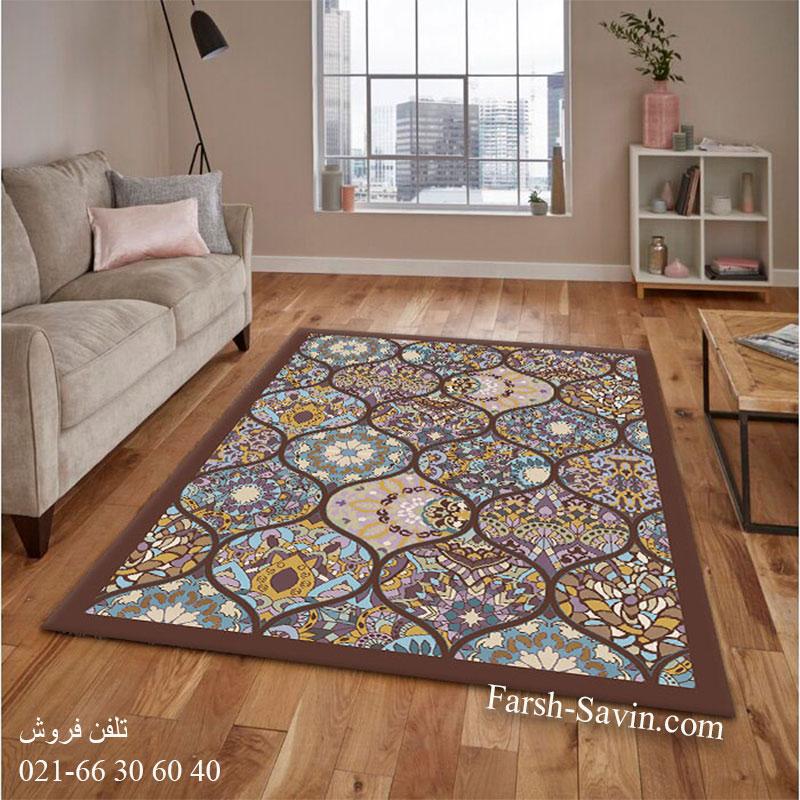 فرش ساوین 7264 قهوه ای فرش خاص