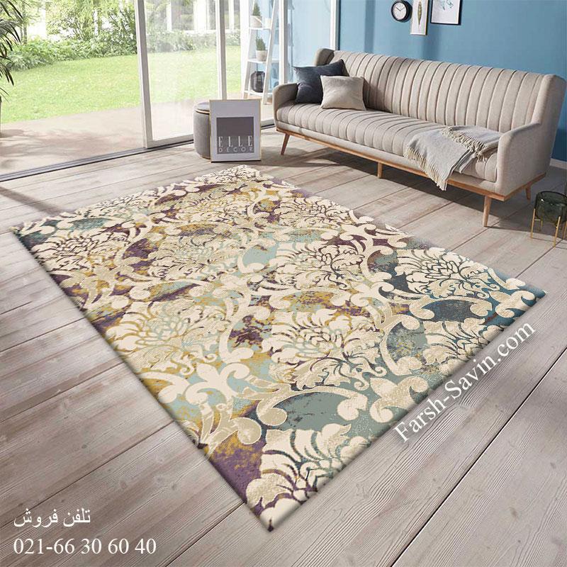 فرش ساوین 7265 کرم فرش اتاق خواب