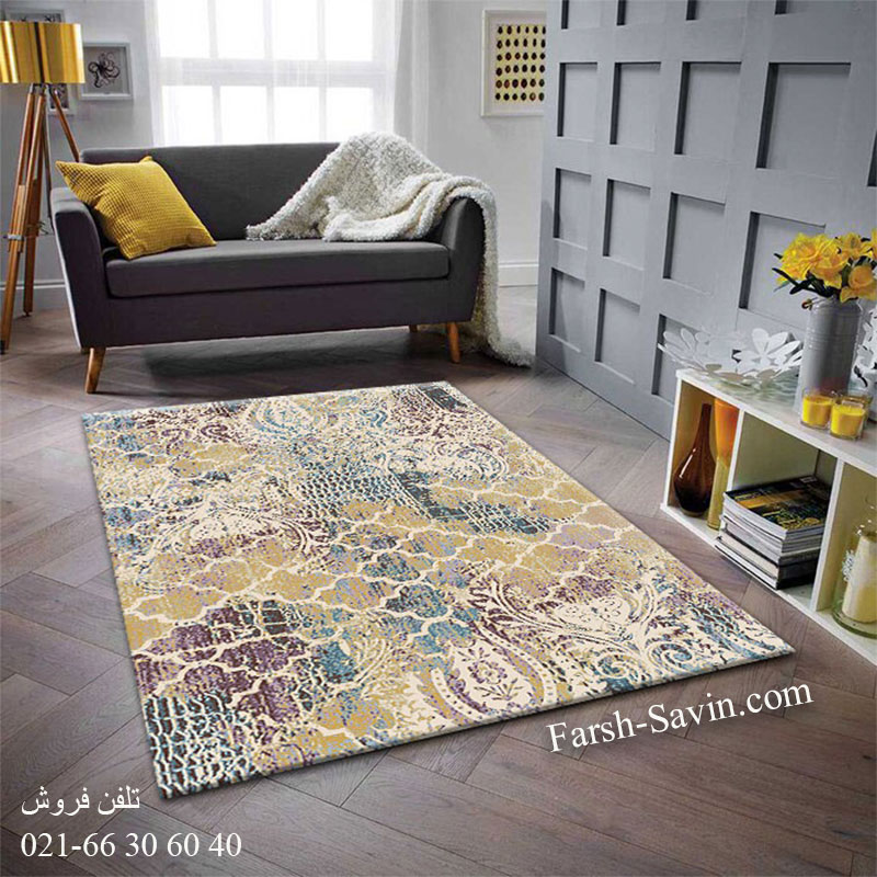 فرش ساوین 7265 کرم فرش مدرن