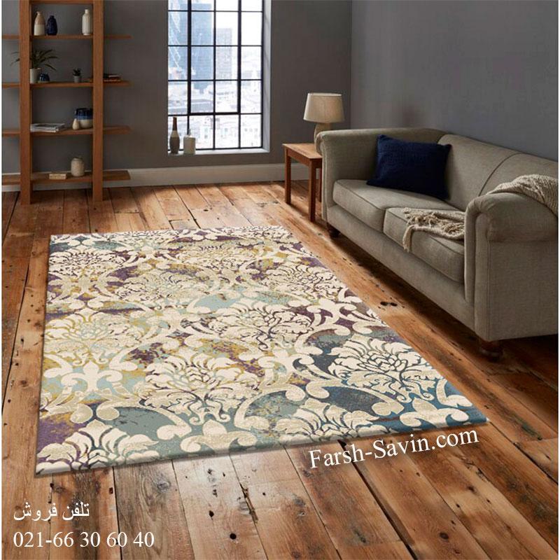فرش ساوین 7266 کرم فرش اتاق پذیرایی