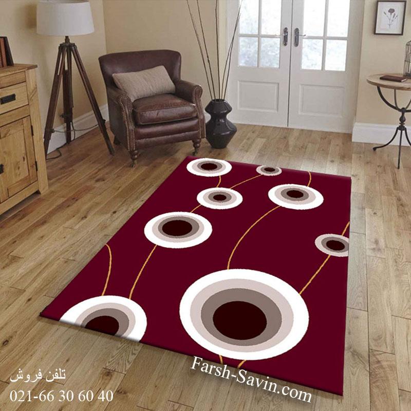فرش ساوین بهرنگ زرشکی فرش خاص