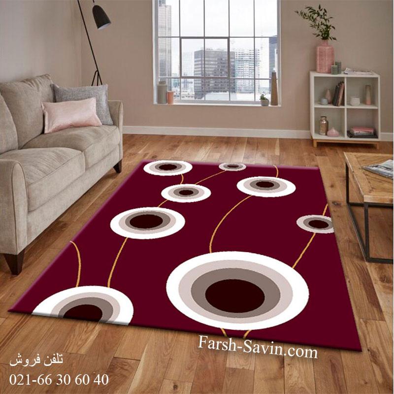 فرش ساوین بهرنگ زرشکی فرش پرفروش