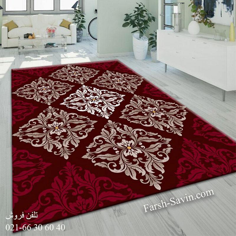 فرش ساوین کرانه قهوه ای فرش پرفروش