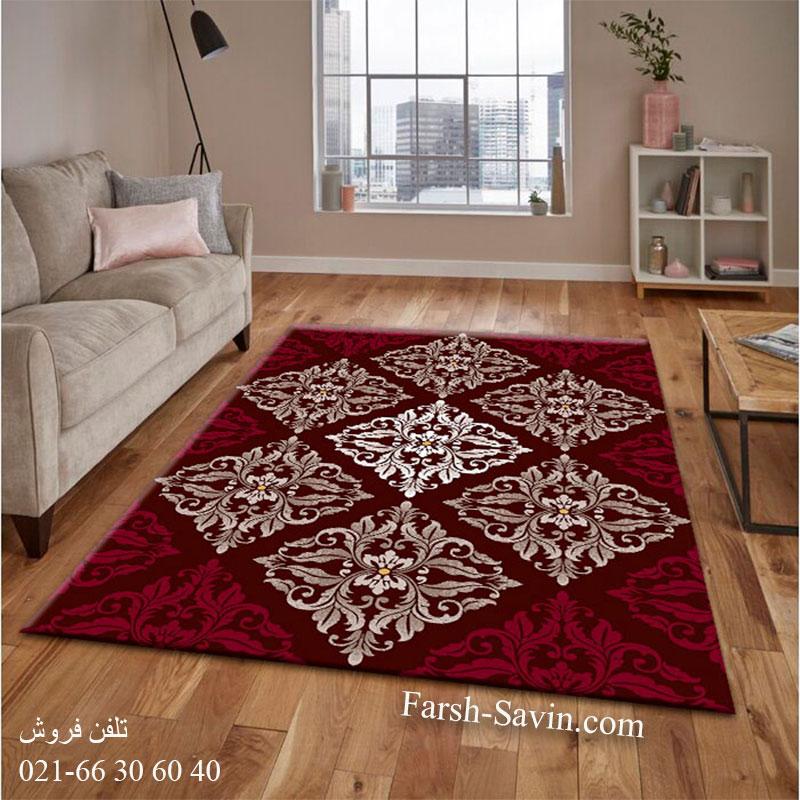 فرش ساوین کرانه قهوه ای فرش بادوام