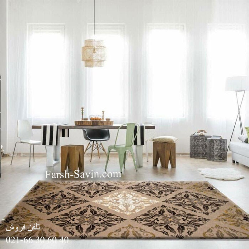 فرش ساوین کرانه شکلاتی فرش اتاق پذیرایی