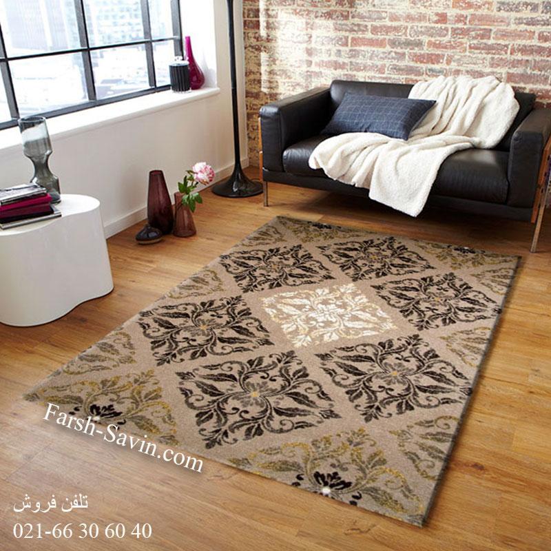 فرش ساوین کرانه شکلاتی فرش شیک