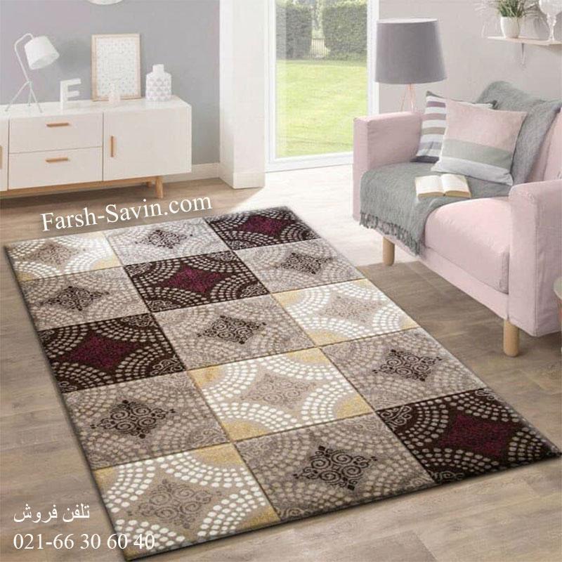فرش ساوین گلاره شکلاتی فرش ارزان