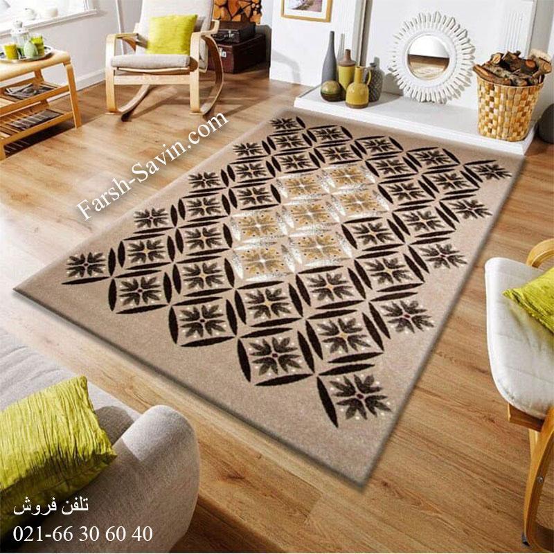 فرش ساوین رایان شکلاتی فرش مدرن
