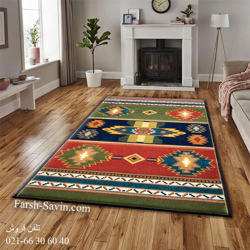 فرش ساوین نیایش سرمه ای فرش خوش نقشه