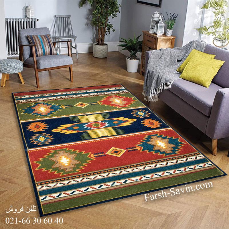 فرش ساوین نیایش سرمه ای فرش ارزان