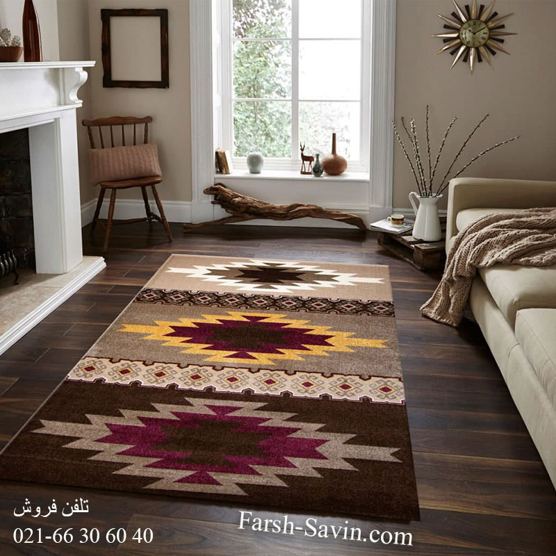فرش ساوین پوپک نسکافه ای فرش