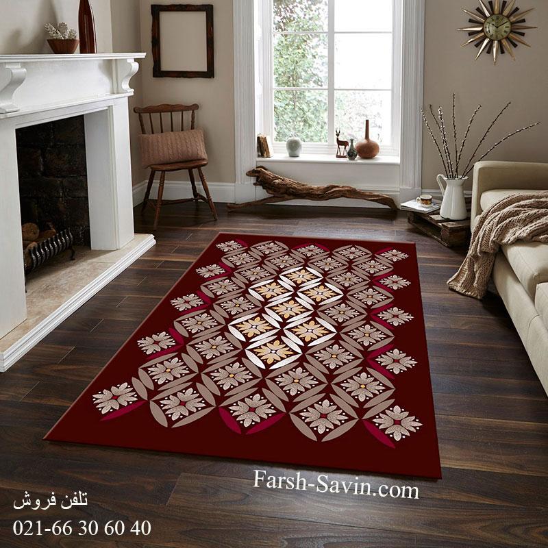 فرش ساوین رایان قهوه ای فرش اتاق پذیرایی