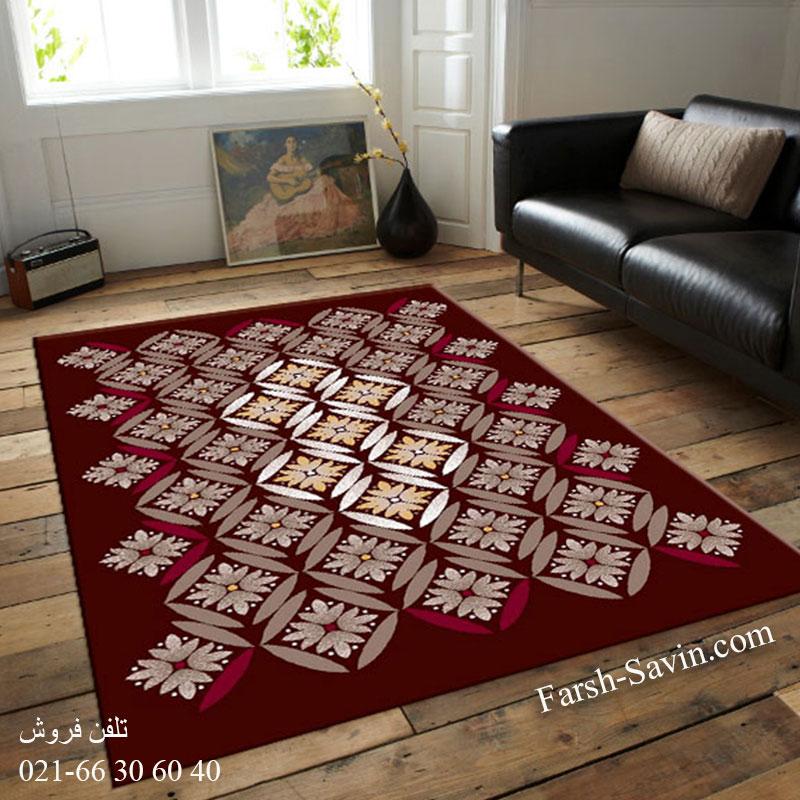 فرش ساوین رایان قهوه ای فرش پرفروش