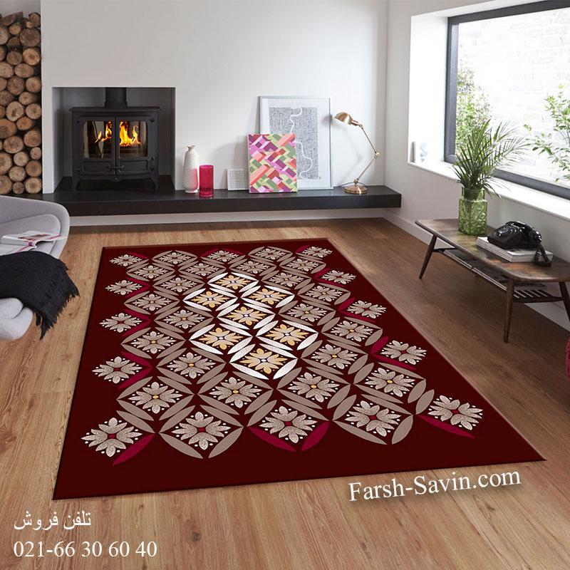 فرش ساوین رایان قهوه ای فرش ارزان