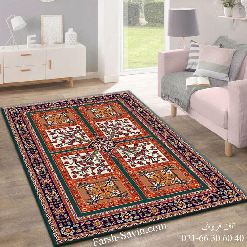 فرش ساوین باغ انار آبی فرش اتاق پذیرایی