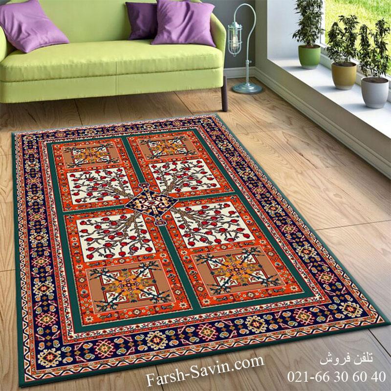 فرش ساوین باغ انار آبی فرش اتاق خواب
