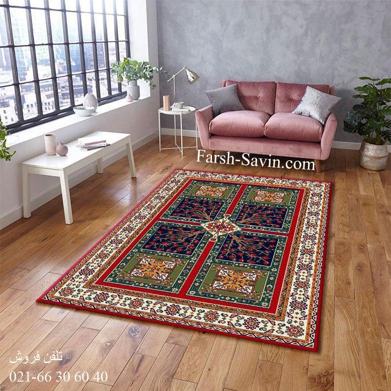 فرش ساوین باغ انار لاکی فرش زیبا