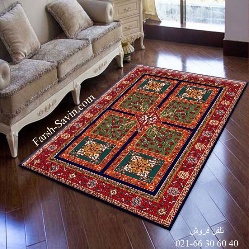 فرش ساوین باغ انار سرمه ای فرش اتاق خواب
