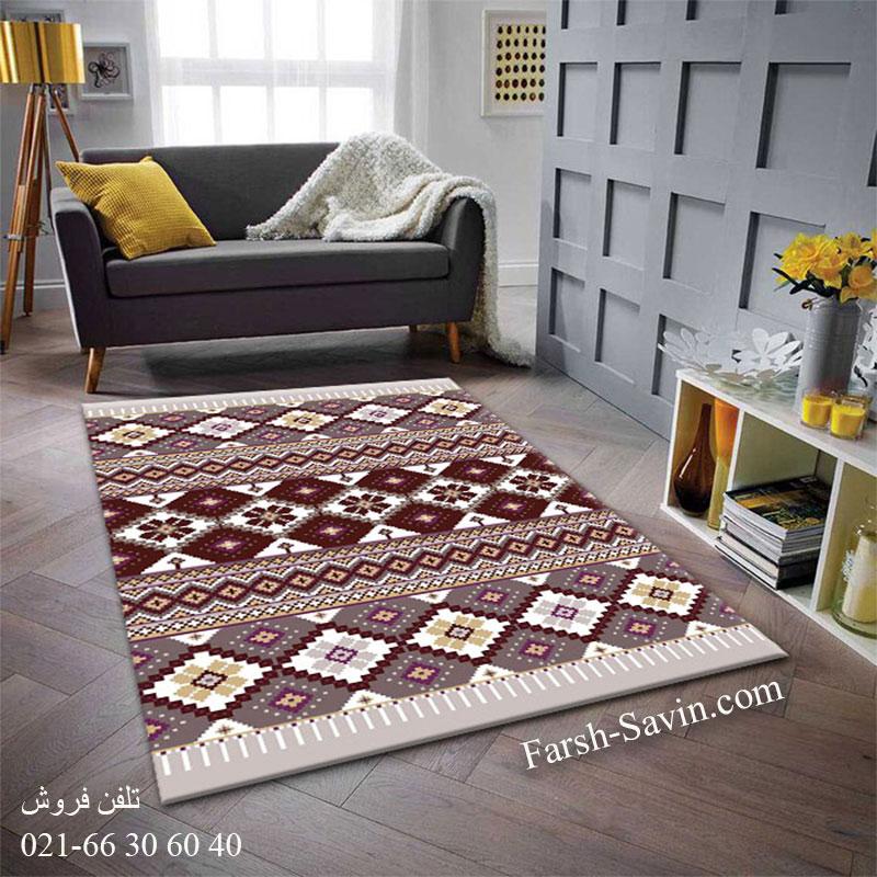 فرش ساوین پرستو شکلاتی فرش زیبا