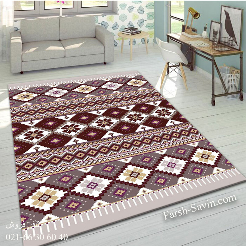فرش ساوین پرستو شکلاتی فرش اتاق خواب