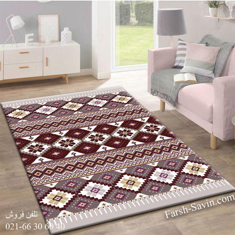 فرش ساوین پرستو شکلاتی فرش پرفروش