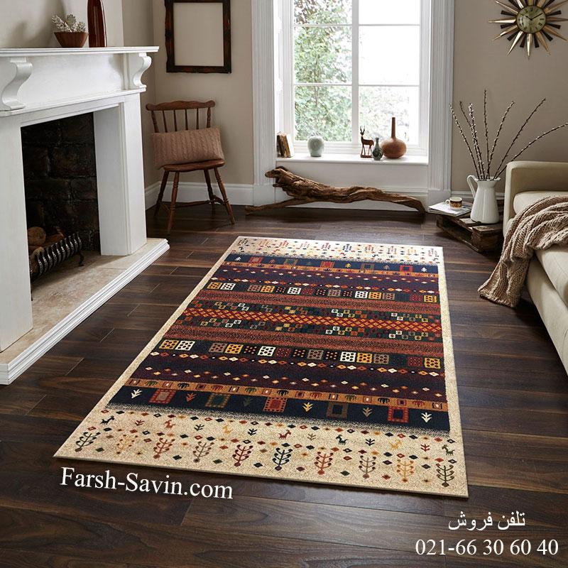 فرش ساوین زنبق کرم فرش فانتزی