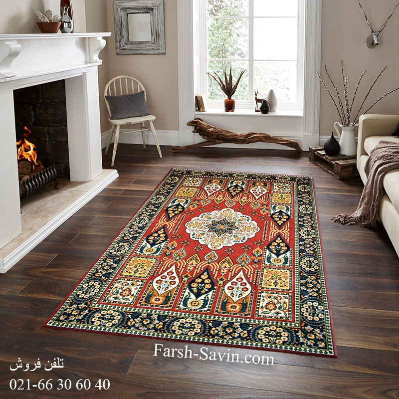 فرش ساوین کشکولی لاکی فرش مناسب اتاق خواب