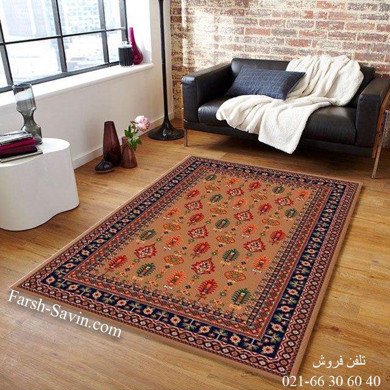 فرش ساوین سارگل شکلاتی فرش اتاق خواب