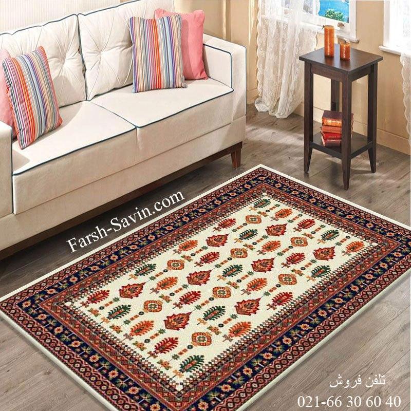فرش ساوین سارگل کرم فرش پرفروش