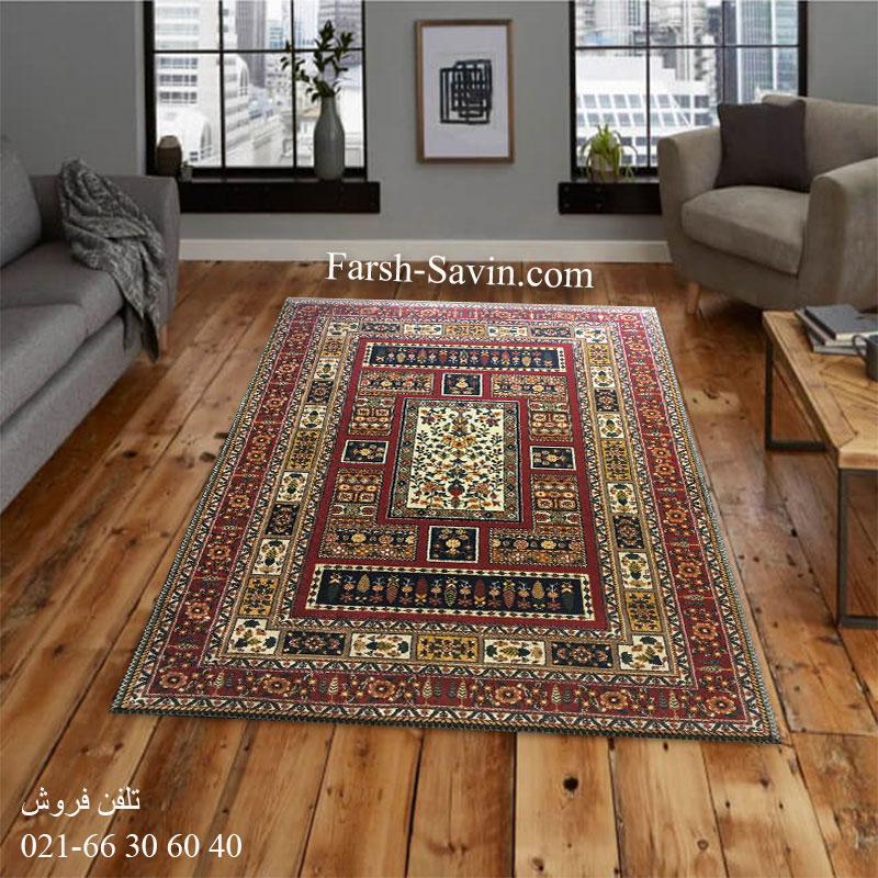 فرش ساوین باغی سرمه ای فرش مدرن