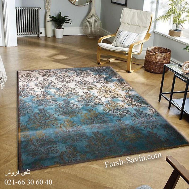 فرش ساوین 1516آبی فرش فانتزی