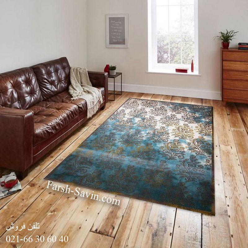 فرش ساوین 1516آبی فرش پرفروش