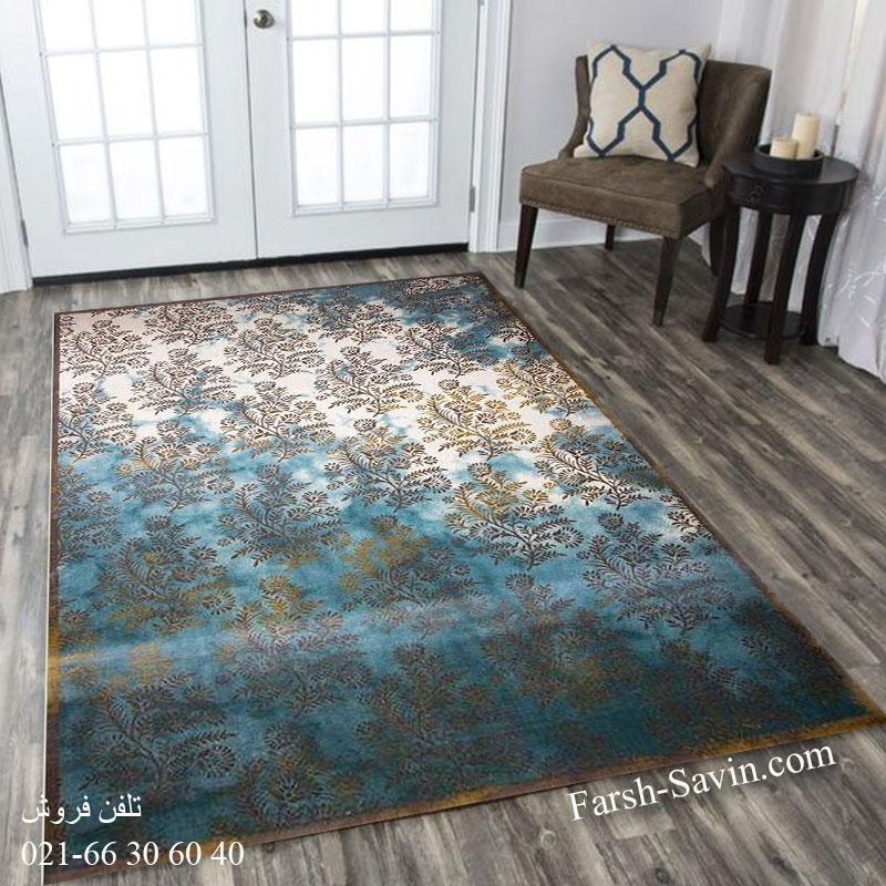 فرش ساوین 1516آبی فرش بادوام