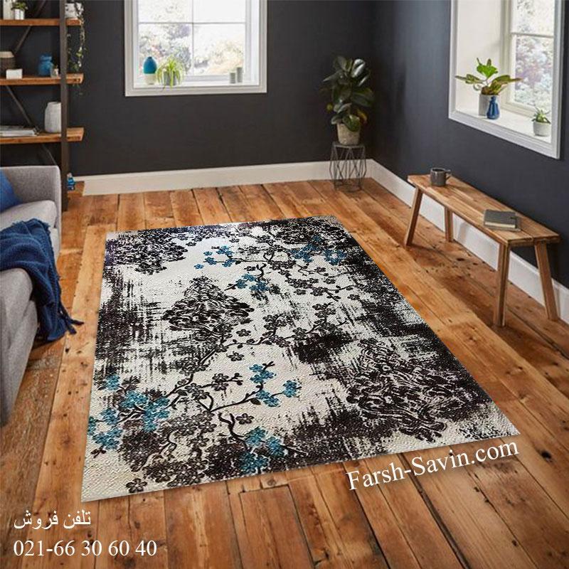 فرش ساوین 1519 آبی فرش زیبا